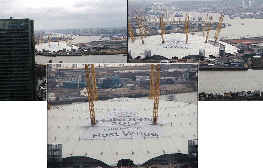 Lettering placed onto the curved surfaces of the Millennium dome, London