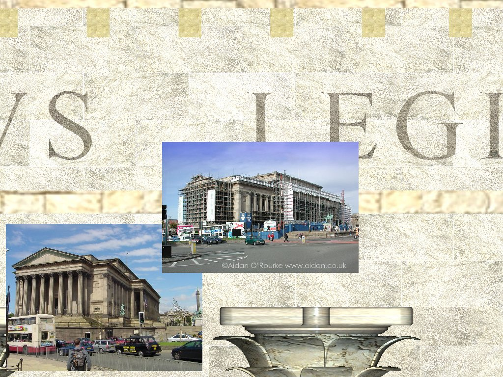 Image banner on scaffolding covering St George's Hall, Liverpool.